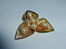 With Faux Pearls Brooch/Pin~Gorgeous Vintage Gold Colored Pin