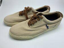 Ralph Lauren Polo Vaughn Shoes Leather and Canvas Tan Mens Size 11D