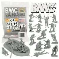 BMC Marx US Soldiers Plastic Army Men - Gray 31pc WW2 Figures Made in the USA