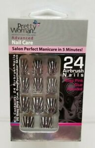Pretty Woman Advanced Nail Care - 24 Airbrush Nails - Black/Silver - NEW