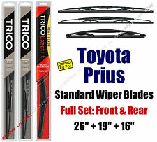 Wiper Blades 3pk Front Rear Standard - fit 2010-2015 Toyota Prius 30260/190/16A