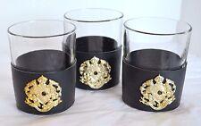 3 Vtg Tumblers Insignia Crest Providentiae Memor Black Sleeved Glass Glasses 8oz