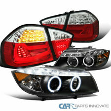 For 06-08 BMW E90 3-Series Black Projector Headlights+Red/Clear LED Tube Tail