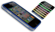 BUMPER COVER CASE FLIP COMPATIBILE IPHONE 5 BICOLORE TRASPARENTE BLU
