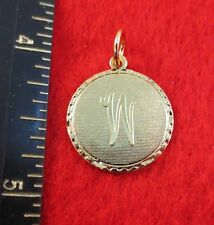 14KT GOLD EP LETTER W ROUND INITIAL DISC CHARM