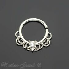 SIMULATED DIAMOND PLATINUM SURGICAL STEEL NOSE SEPTUM TRAGUS CARTILAGE HOOP RING