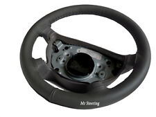 FOR AUDI A4 B5 B6 94-05 100%REAL DARK GREY ITALIAN LEATHER STEERING WHEEL COVER