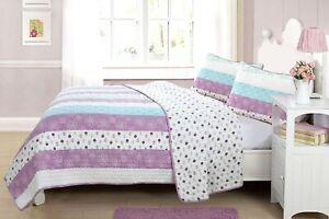 Purple Flower Blue Stripe Reversible 100%Cotton Quilt Set, Bedspread, Coverlet