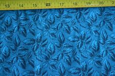 By 1/2 Yd, Blue Leaves on Blue Quilting Cotton, Cranston, B1143