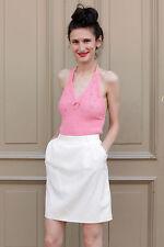Damen Shirt Top knitted Strick pink rosa 70er True VINTAGE 70´s women Neckholder