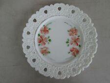 Orange Orchids Lacy Edge Milk Glass Plate Vintage