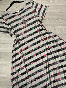 NWT Lularoe Gray and Multicolored Striped Carly, Size 2XL