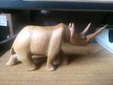 Vintage Hand Carved Wood Rhino Sculpture Wildlife Statue African Art Horn Damage