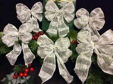 Plata Árbol De Navidad Decoración Arcos. Set 6 puertas guirnaldas & coronas 15-20cm