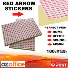 180 x Red Arrow Stickers Adhesive Arrows Planner Memo Sign Here Colour Coding