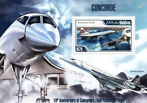 Air France & British Airways (BA) CONCORDE Aircraft Stamp Sheet (2013 Maldives)