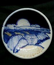Vintage Middle Eastern cobalt blue ceramic dish, artist signed Baraka