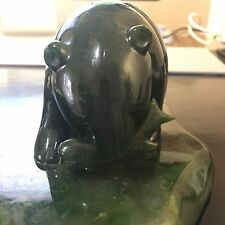 BEAUTIFUL BEAR FISH NEPHRITE JADE CARVING FROM 1996  LOOKS LIKE A WONG CARVING