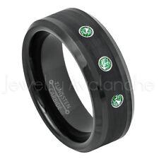 Beveled Black Tungsten Ring 0.21ctw Emerald 3-Stone Ring May Birthstone Ring #6