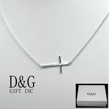"""NEW DG Women's Classic Sterling Silver 925 Side Cross Chain 18"""" Necklace + Box"""