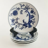 Set of 4 Vienna Woods Blue Onion Saucers Plates Fine China 6""