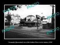 OLD LARGE HISTORIC PHOTO OF NORMANBY QLD, THE GOLDEN FLEECE SERVICE STATION 1950