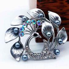 1X Shiny Crystal Rhinestone Peacock Fashion Luxury Vintage Leaf Lapel Brooch Pin