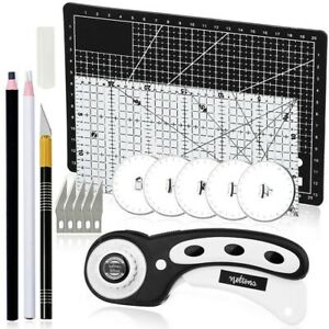 16Pcs Rotary Cutter Set Fabric Patchwork Ruler A4 Leather Cutting Mat DIY Tools