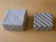 """Two Vintage Basketry Nesting Boxes 6 1/4 x 6 1/4 x 3 & 5 1/4 x 5 1/4 x 2 1/4"""""""