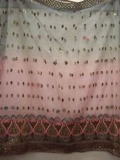 Vintage Pink and Grey Dupatta Indian Scarf Embroidered Sarong Veil Stole Hijab
