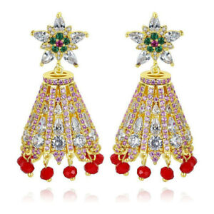 Gold Plated Red Green Clear Cubic Zirconia Christmas Bell Dangle Earrings 1.70 L