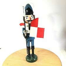 """Wooden Castle Guard Nutcracker with Lance Shield and Flag 20.5"""" Tall Vintage"""