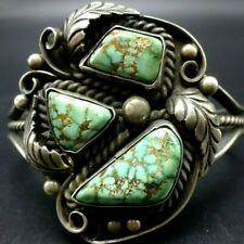 Vintage NAVAJO Sterling Silver ROYSTON TURQUOISE Webbed Matrix Cuff BRACELET