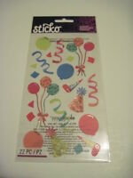 Scrapbooking Stickers Crafts Sticko Birthday Party Favors Balloons Swirls Hats