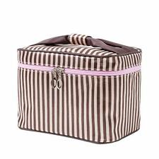 HOYOFO Women Portable Travel Cosmetic Bags with Brush Holder Make Up Bags,Coffee