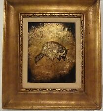 Jack White vintage painting Gold Echruseos raccoon Heavy Frame UNIQUE