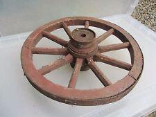 "Antique Wooden Wagon Wheel Horse Cart Iron Strap Spokes Vintage Old French 14.5"""