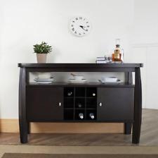 Furniture of America Zarina Dark Espresso Buffet Table Wood Open Storage Dining