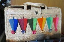 MEXICAN vintage straw raffia xl large colorful umbrellas bag, tote