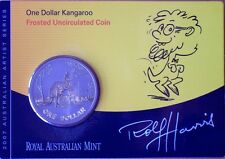 2007 $1 KANGAROO FROSTED UNCIRCULATED COIN-ROLF HARRIS