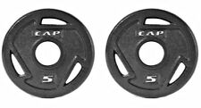Weight Plate PAIRS Olympic Size Safe Lift  Exercise Gym Cast Iron Gri p Plates