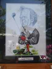 TONY RAFTY Caricature - ARNOLD PALMER sketch - signed artist AND subject