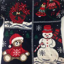 Nutcracker Ugly Christmas Cardigan Sweater USA Bells Tree Bear Gifts Medium M