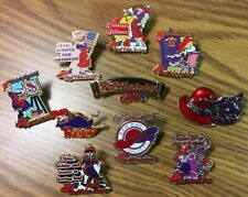Fun 10 Pins Lot Very Pretty ! Red Hat Society Pin Colorful Collectible Beautiful