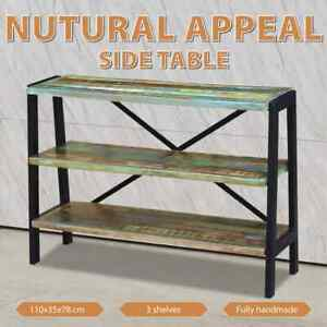 vidaXL Recycled Timber Sideboard Console Table 3 Shelves Steel Frame Rustic