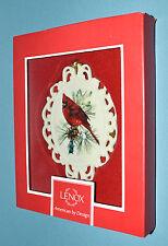 "WINTER GREETINGS Lenox CARDINAL Bird CAMEO Tree Ornament 4"" Porcelain NEW in Box"