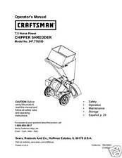 Craftsman  Chipper Shredder  Manual Model # 247.776350
