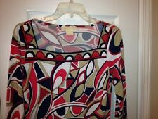 MICHAEL KORS Women's Shirt Top Blouse SIZE SP 3/4 Sleeves Red, White, Blue