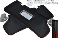 RED STITCH FITS FORD FIESTA MK4 MK5 95-01 2X SUN VISORS LEATHER COVERS ONLY