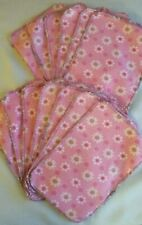 12 Cotton Flannel Baby Wipes *Pink Flowers* Washable Reusable Unpaper